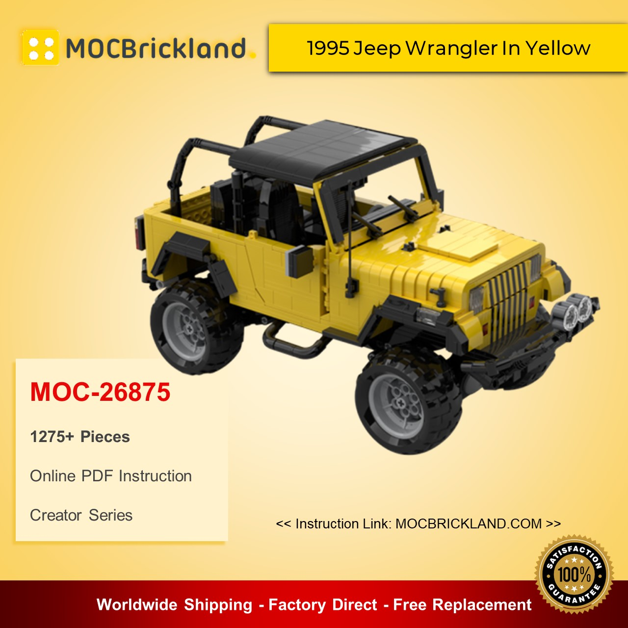 Creator MOC-26875 1995 Jeep Wrangler In Yellow MOCBRICKLAND