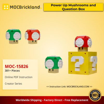 Creator MOC-15826 Custom Power Up Mushrooms and Question Box by buildbetterbricks MOCBRICKLAND