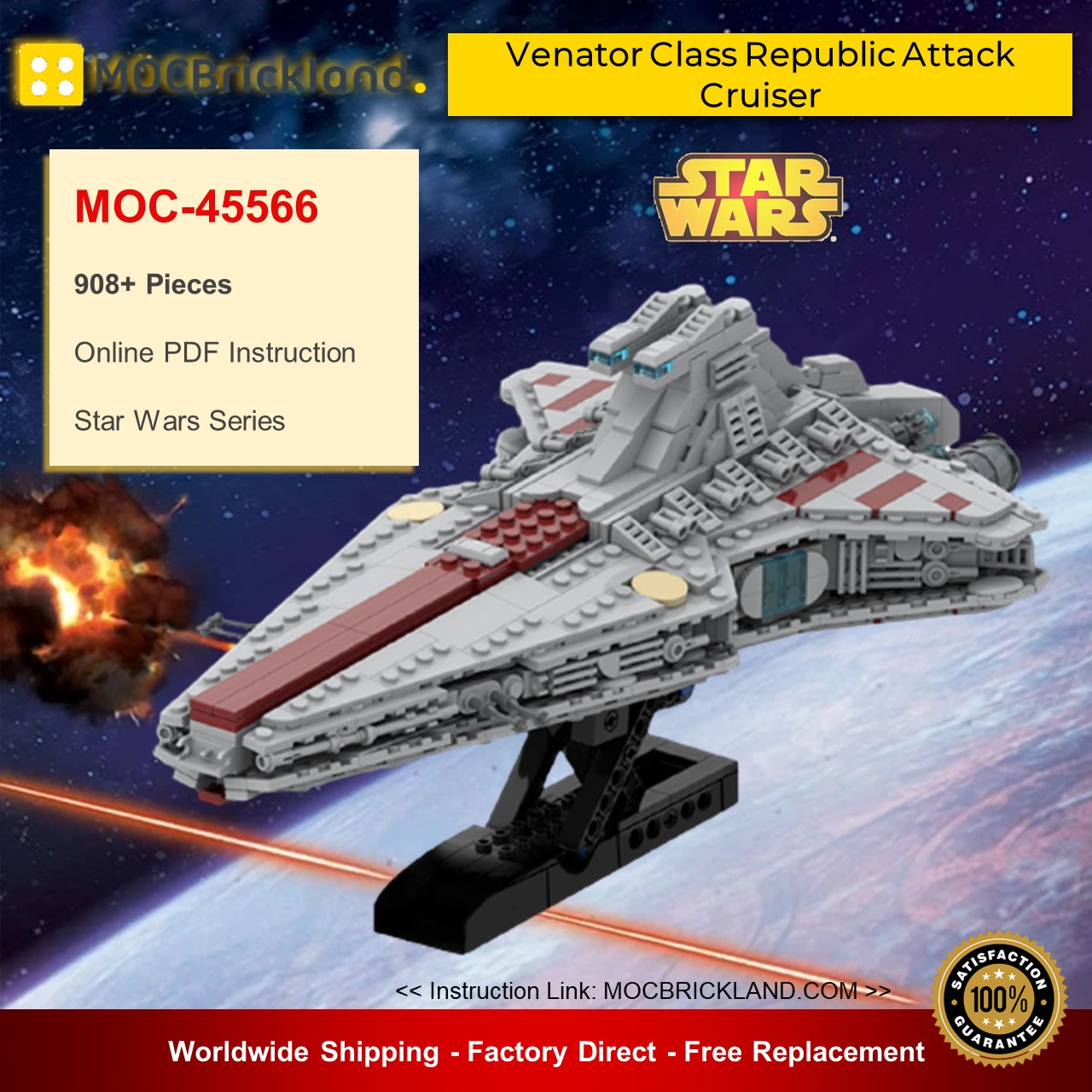 Star Wars MOC-45566 Venator Class Republic Attack Cruiser By Red5-Leader MOCBRICKLAND