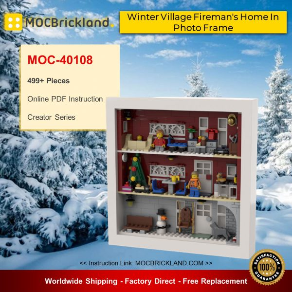 Creator moc-40108 winter village fireman's home in photo frame by beewiks mocbrickland