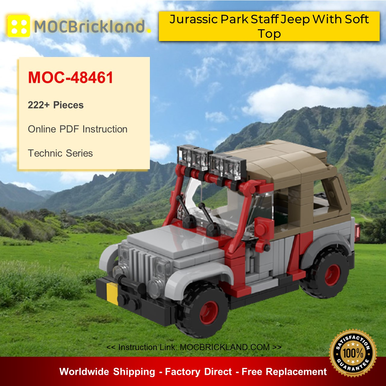 Technic MOC-48461 Jurassic Park Staff Jeep With Soft Top By Miro MOCBRICKLAND