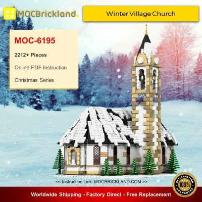 Christmas MOC-6195 Winter Village Church By bricksandtiles MOCBRICKLAND