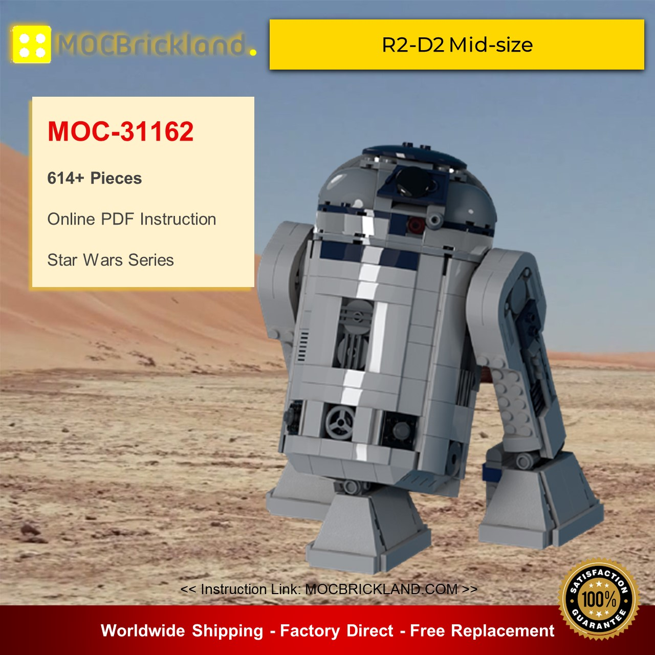 Star Wars MOC-31162 R2-D2 Mid-size By wheelsspinnin MOCBRICKLAND