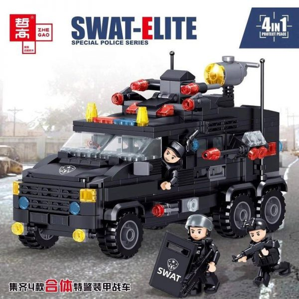 Military ZHEGAO QL0251 SWAT-ELITE 4 in 1 Helicopters, Speedboats, SUVs, Cars